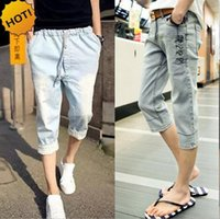 Wholesale Hot Pants Mans - Wholesale- HOT Fashion Summer Hip Hop Vintage Button Slim Fit Casual Capri Pants Denim Jeans Men flanging Calf Length Pants Teenagers 28-34