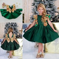 Sequined Dark Green Flower Girls Vestidos com Bow Knot comprimento do joelho Satin Girls Pageant vestido sem mangas FA linha First Communion Dress