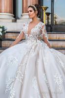 Wholesale Monarch Length Wedding Dress - keyhole back monarch train princess wedding dresses 2017 crystal design bridal long sleeves plunging v neck sexy ball gown a line wedding
