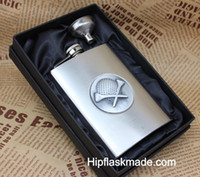 Wholesale Stainless Steel Skull Flask - Wholesale- 1 set ,8oz golf or skull hip flask with funnel in black or red silk inner lined ,black gift box packing