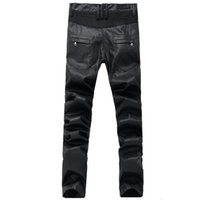 Long black leather skinny jeans - New Men s Leather Pants Locomotive punk BIKER JEANS black Slim high Street fashion pants From men s clothing pants