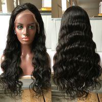 insan vücudu dalgası dolu peruk toptan satış-Satış fiyat tutkalsız tam dantel insan saçı peruk vücut dalga dantel ön peruk siyah kadınlar için bakire insan saçı dalgalı tam dantel peruk