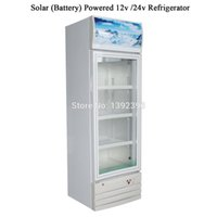 Wholesale Battery Solar 12v Dc - Wholesale- 208L Solar Battery Powered DC 12v  24v Refrigerator Solar Showcase Glass Door Showcase
