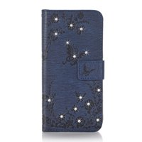Wholesale Diamond Leather Flip Phone Cover - Diamonds Butterflies Blossom Embossed PU Leather Flip Cover Phone case For iPhone 7 6 Plus Samsung S8 S7 S6 Edge Huawei P9 Lite