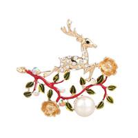 Wholesale Copper Wreath - Sika deer Christmas Candy Pearl Pendant Hanger tassel elk wreath of Christmas tree Brooch garment accessories