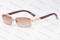 Wholesale Eyeglass Frames For Girls - 2017 brand sunglasses for men semi-rimless white buffalo horn glasses wooded bamboo fashion frame spectacle optical eyeglasses women sunglas
