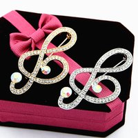 Wholesale White Elegant Scarves - Stunning Rhinestone Diamante Music Note Brooch Gold Plated And Silver Plated Women Wedding Bouquet Brooch Pins Elegant Lady Scarf Pins