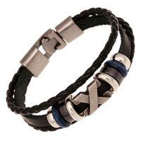 Wholesale silver cross charm bracelets resale online - New Cross Charm Braided Men Bracelet Jewelry Hand Woven PU Leather Bracelets Bangles Black Wristband party dress jewelry