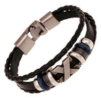 bracelete de couro venda por atacado-Nova Cruz Charme Trançado Homens Pulseira Jóias Tecidos À Mão PU Pulseiras De Couro Pulseiras Pulseira Preta vestido de festa de jóias