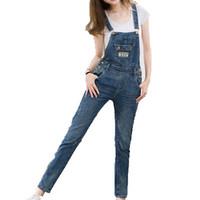 macacão jeans venda por atacado-Atacado-Mulheres Bolsos Macacão Moda de Nova Plus Size Coreano Jeans Macacões Macacões Casual Solto Menina Calças Jeans Rompers Playsuit B147