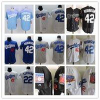 Wholesale Mens Shorts Quick Dry - Mens L.A. Los Angeles Dodgers Jackie Robinson White Blue Gray Flexbase Jersey, L.A. 42 Jackie Robinson Throwback Jersey 1995 HOF 50TH Patch