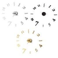 Wholesale Wholesale Wall Clock Hands - Wholesale- Black Gold Silver Large Silent Quartz Wall Clock Movement DIY Hands Mechanism 12 Inches