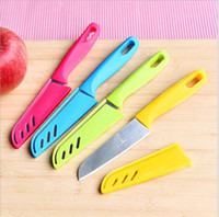Wholesale chinese knife free shipping online - Portable Fruit Knife Green Plastic Handle Boutique Essential Tools Home Outdoor Camping Convenient Durable Fixed Knife