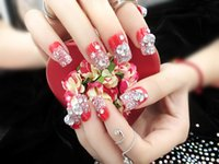 Wholesale Noble Design Nails - Wholesale-Fashion Women Decoration 24   Set Finished Red False Nails, Shiny Red Diamond Noble Bride Shall Cover All Manicure Patch Design