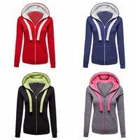 Wholesale Hooded Drawstring Jacket - Fashion 2017 Europe style girls sweater solid zipper long sleeve jacket women drawstring hooded coat lady casual fleece