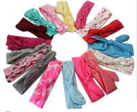 verstellbare baumwollstirnbänder großhandel-21 Farben Baumwolle Headwrap Kinder Mädchen Mode verstellbare Stirnbänder Kaninchen Ohr Kinder Haarschmuck Stirnbänder Mode Geschenk Hochzeit