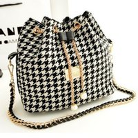 Venda Por Atacado Moda Folk Estilo Canvas Drawstring Bucket Bag Shoulder Handbags Senhora Faux Pearl Letter Bucket Tote Ombro Crossbody Bolsa
