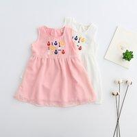 Wholesale Chiffon Ruffle Trim Wholesale - Sweet Baby Girls Trimmed Embroidered Ruffle Dress Kids Girl Chiffon Pink And White Sleeveless Summer Party Dresses