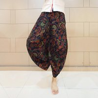 Wholesale Indian Trousers - Wholesale-Gypsy Hippie Aladdin Baggy Pants Mens Outwear Casual Indian Harem Pants Summer New Nepal Trousers Plus Size Hawaii Dance Pants