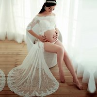 Wholesale Lace Gown Pregnancy Dress - Maternity Photography Props Maternity Lace Gown White Dresses Sexy Pregnancy Clothes Long Dress For Pregnancy Woman