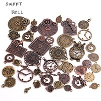 Wholesale bell clocks - SWEET BELL 20pcs Vintage Metal Zinc Alloy Mixed Clock Pendant Charms Steampunk Clock Charms for Diy Jewelry Making H3012