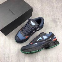 Wholesale Tennis Logos - ORIGINAL RAF Simons Consortium Ozweego 2 Running Shoes With R Logo for Men Women 2018 Midnight Blue Sneakers EUR 36-45 Top Quality