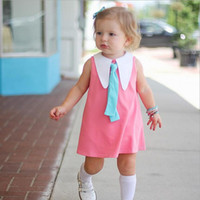 Wholesale Girls Tied Skirt - INS 2017 Europe and America style new arrivals Girls cute Turn-down Collar Tie princess skirt girl high quality cotton dress casual dress