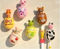 Wholesale Tooth Shaped Toothbrush Holder - Egg-shaped Toothbrush Holders Creative household Cute Cartoon animal suction-cup toothbrush rack Teeth seat Washwasher Set wholesale