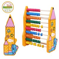 Wholesale Math Tool - Cartoon Colorful Bead Wooden Abacus Child Educationnal Calculate Count Numbers Math Learning Tool Pencil Pattern Abacus Frame Wooden Toys