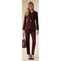 Jacke + Pants Damen Business Anzug Weinrot Weibliche Büro Uniform Damen Formale Hosen 2 Stück Set Abend Prom Party Smoking