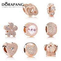 Wholesale love rose flower glass - DORAPANG Rose Gold Charms Beads Fits Bracelets 925 Sterling Silver Bead Jewelry Pave CZ Pendant Bead DIY Jewelry Accessories For Women Gift