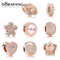 Wholesale zodiac accessories for sale - DORAPANG Rose Gold Charms Beads Fits Bracelets Sterling Silver Bead Jewelry Pave CZ Pendant Bead DIY Jewelry Accessories For Women Gift