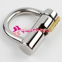 erkek iffet cihazları köle toptan satış-Toptan-Çelik D-Ring PA Kilit 4mm 5mm Glans Piercing Erkek Chastity Cihaz Köle Penis Harness Kısıtlama Kayışlar takılması
