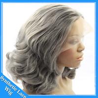 gri kısa saç perukları toptan satış-Kısa bob Gri Sentetik Dantel Ön Peruk Isıya dayanıklı fiber gümüş vücut dalga peruk yüksek kalite gri tutkalsız sentetik saç peruk