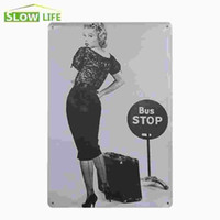 """Wholesale Signs Bus - Sexy Marilyn Monroe At Bus Stop Vintage Home Decor Tin Sign 8""""x12"""" Cafe Pub Garage Wall Decorative Metal Sign Retro Metal Poster 20170408#"""