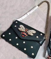 Wholesale Pearl White Envelopes - New style women Fashion brand newest design bee pearl embellished cover falp calfskin genuine leather handbags Shoulder Bags Envelope bag