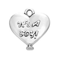 Wholesale Cheap Boys Jewelry - Cheap Trendy Style Antique SAilver Plated It's A Boy Heart Message Charms For DIY Jewelry