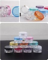 Wholesale small plastic containers wholesale - Free Shipping 4000pcs 3g mixed color 3G Cream Jars, Screw Caps,Clear Plastic Makeup Sub-bottling,Empty Cosmetic Container,Small Sample Mask