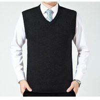 Wholesale Black Sweater Vest Men - New for Autumn Winter Men's Fashion Clothing V Neck Wool Sweater Pullover Tops Casual Fashion Sleeveless Basic Knit Vest 8001
