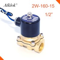 Wholesale water solenoid valve 12v - 2W-160-15 Brass direct acting 1 2 inch G thread normally closed Gas solenoid valve 12v 24v dc