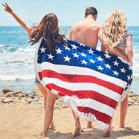 Wholesale Round Mattresses - US Flag Pattern Round Beach Towel with Tassel Fringe 150cm Wall Hanging Beach Towel Throw Yoga Mat