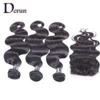 """Wholesale weft hair for sale - Super Sale!!3 Bundles Mix Brazilian Human Hair Weft And 1Pcs Top Lace Closure(4""""x4"""") Body Wave For a Full Head"""