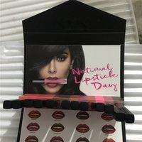 Wholesale Envelope Wallets - New Beauty 12 colors Matte Liquid lipstick hand picked wallet envelope design lip contour set Free Ship
