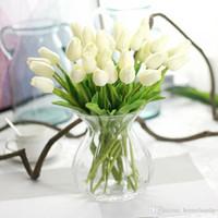 ingrosso piantare piante di tulipani-Fiori di seta falsi del fiore artificiale dell'ortensia del tulipano per i fiori di cerimonia nuziale Fiori decorativi domestici del partito della casa che spedice da DHL