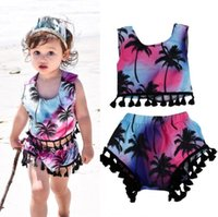 Wholesale Tassel Short Costumes - 2Pcs Set Toddler Kids Baby Girls Clothes Floral Tassel Tops+Shorts Pants Outfits babies clothes factory Beach Costumes