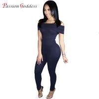 Wholesale wholesale bodysuits for women - Wholesale- New Plus Size Jumpsuits for Women 2016 Bodycon Bodysuits Sexy Off Shoulder Slash Neck Skinny Solid Rompers Womens Jumpsuit Black