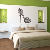 Wholesale Girls Removable Wall Art Stickers - New Beautiful High Heels Art Murals Wall Stickers for Girls 3 Colors Optional PVC Personality Wallpaper Decals Removable Wholesale