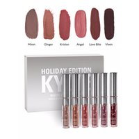Nuovo Kylie Holiday Edition 6pcs / set Mini Set Matita Liquido Rossetto Set LTD Collection Minis Kylie Cosmetics HOLIDAY EDITION PER Natale