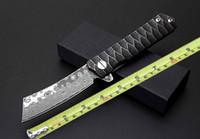 Wholesale Styling Razor - Damascus pocket knife Razor style 8 inch folding knife