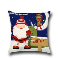 Wholesale cartoon seat covers - Christmas Decorations for Home Linen Cushion Cover Seat Sofa Decorative Pillow Covers Housse De Coussin Christmas Pillow